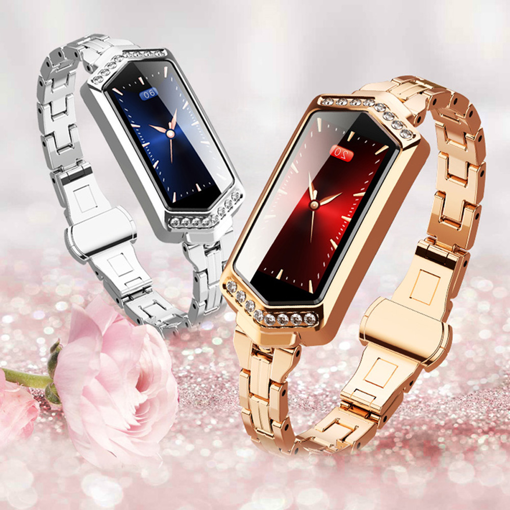 Fashion Women Crystal Smart Wristband Heart Rate Blood Pressure Monitor Bracelet Physiological Cycle Reminder Sleep Tracker Innrech Market.com
