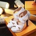 Sandalias de LA PU Nueva Mujer Zapatos pequeños patios 32 33 de Gran tamaño 46 45 44 43 42 41 40 Plataforma de Tacón Alto 11.5 CM 3.5 CM Tamaño del EUR 31-47