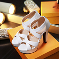 Sandals PU New Shoes Woman small yards 32 33 Large size 46 45 44 43 42 41 40 High Heel 11.5CM Platform 3.5CM EUR Size 31-47