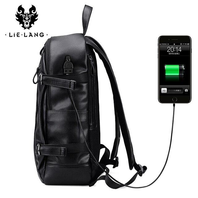 LIELANG Men Backpack External USB Charge Waterproof Backpack Fashion PU Leather Travel Bag Casual School Bag For Teenagers 4
