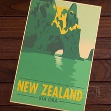 Kia Ora Hole in Rock Nueva Zelanda NZ paisaje viaje cartel de viaje Retro Vintage lienzo DIY pared arte Bar carteles de decoración