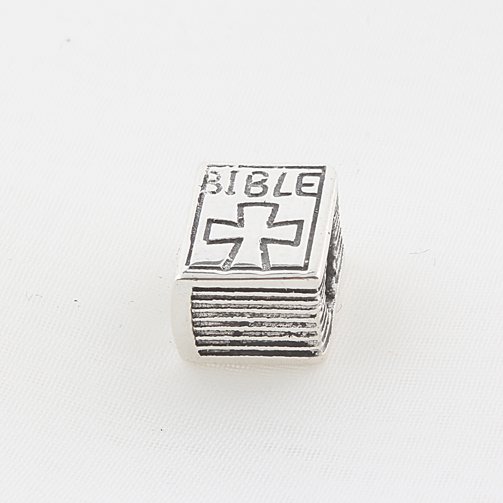 ICYROSE Solid 925 Sterling Silver Bible with Cross Charm Bead 216 for European Snake Chain Bracelets