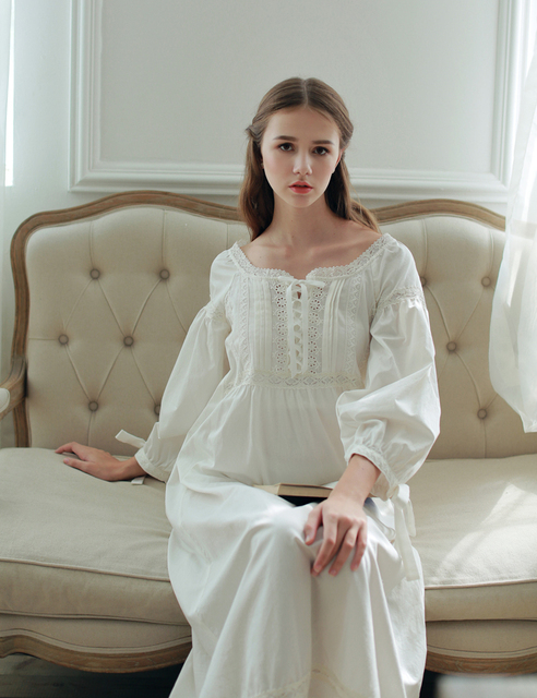e85607b8f0 2016High Quality Cotton Home Nightwear Ankle-length Vestidos Vintage Long  Gown Pyjama Medieval Party Pure