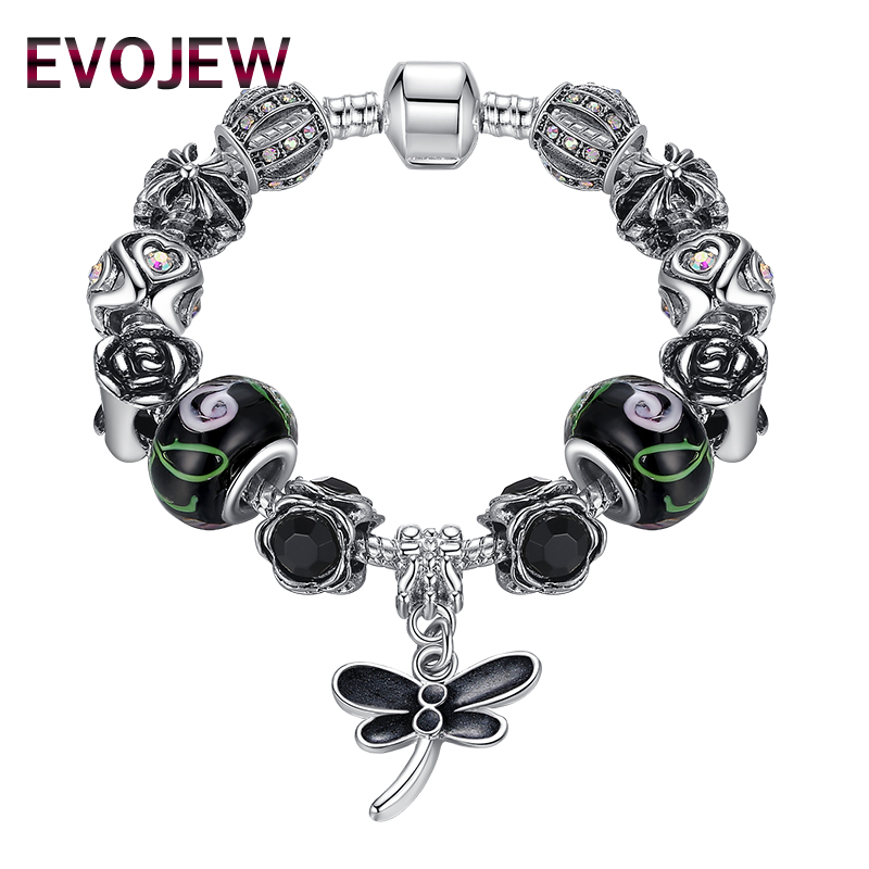 EVOJEW Silver Color Fashion Bracelet Murano Glass Beads Dragonfly Charm Bracelet For Women Jewelry Accessories
