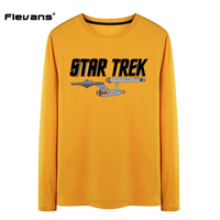 Flevans Fashion 2017 Mens T Shirt Star Trek Printed Tshirt Men O Neck Cotton Long Sleeve