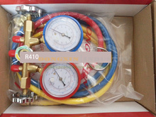 A C Manifold gauge  HS-536G-410A  collector for R410 with 3 colorful 1M hose hvac 1 way manifold gauge hs 470a r410 single gauge for r410 with 2pcs low pressure hose