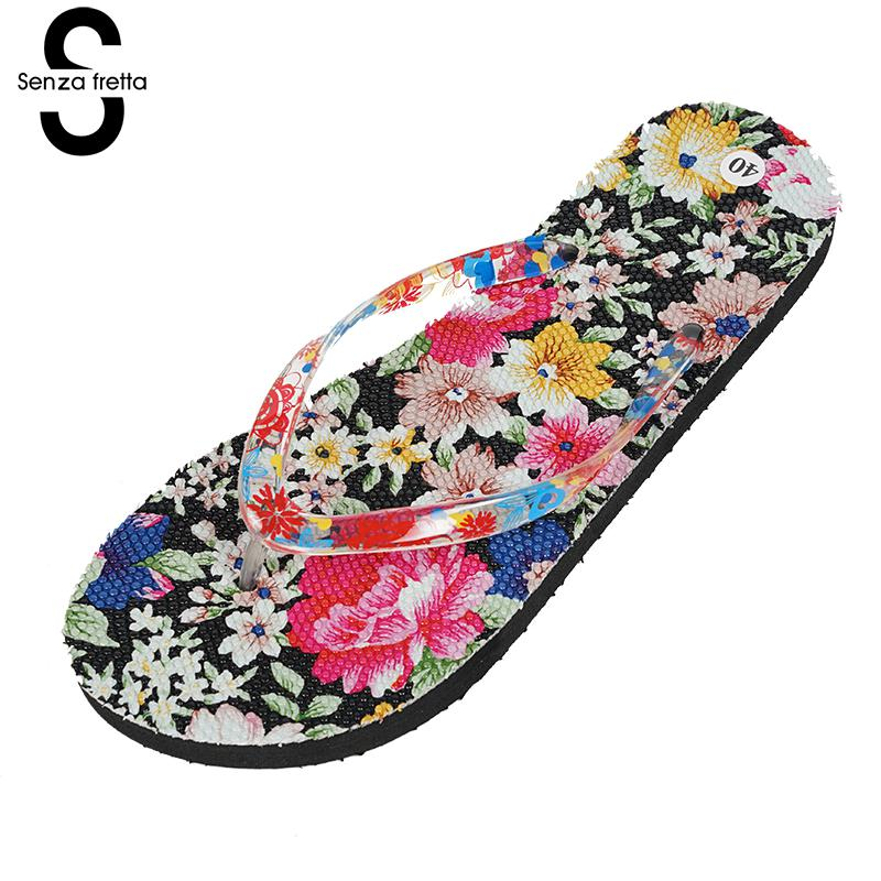Senza Fretta Summer Women Sandal Flip Flops Flower Printing Design Flat With Sandals Slippers Surfing Casual New Beach Shoes фоторамка senza 20х25 см хром 956444