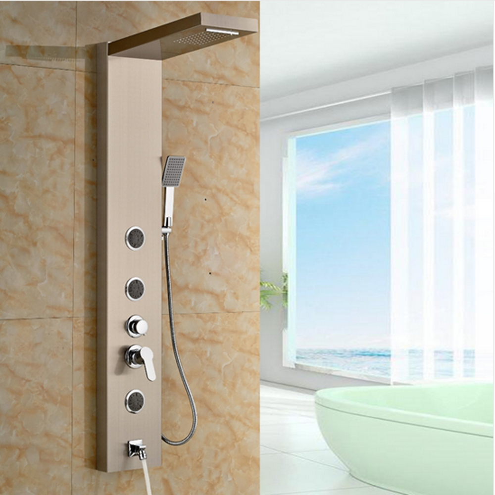 Rain Shower Column Jets Sprayer Tub Spout Hand Shower Panel Tap ...