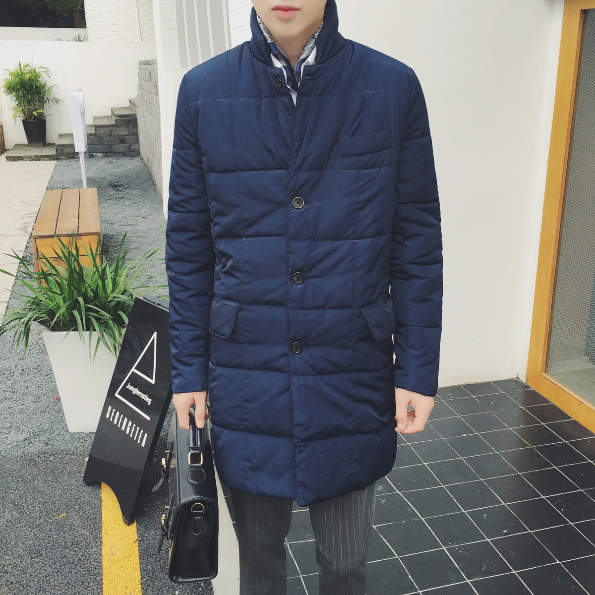 ФОТО 2017 winter men's Navy retro all-match cotton padded clothes exquisite art simple male W729 P100