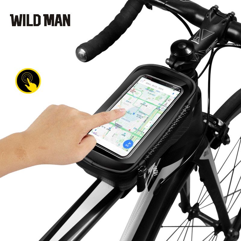 WILD MAN Hard Shell Bicycle Cycling Road Mountain Bike Front Beam Frame Bag TopTube Waterproof Phone Saddle Bag Rding Equipment in Bicycle Bags Panniers from Sports Entertainment
