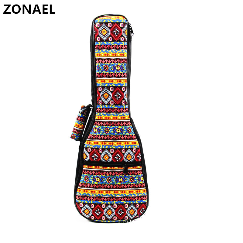 """ZONAEL 23"""" Ukelele bag Special National Style 26 Ukelele Uke Bag Backpack Case 6mm Colorful with Adjustable Strap guitar access