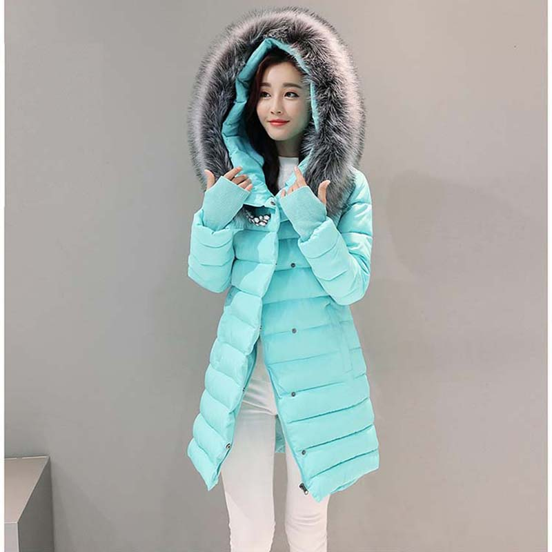 Fashion Large Fur Hooded Quilted Coat Winter Jacket Woman 2017 Solid Color Zipper Down Cotton Parka Plus Size Slim Outwear D21