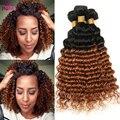 Best Two Tone 1b/30 Ombre Peruvian Human Hair Weave 3 Bundles VIP Beauty Hair Ombre Peruvian Deep Wave Ombre virgin Hair Soft