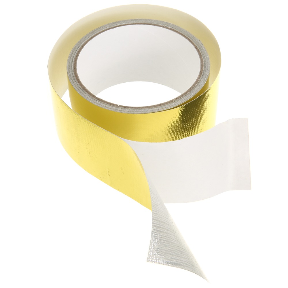Image 3 - New Arrival 1 Roll 5cm*5m Adhesive Reflective Gold High Temperature Heat Shield Wrap Tape Waterproof Shield Wrap Tape-in Car Stickers from Automobiles & Motorcycles