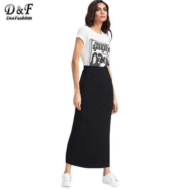 Dotfashion Basic Maxi юбка женский, черный эластичный пояс линии Джерси с длинным Юбки для женщин 2017, Новая мода Краткая Повседневное Тонкий Летняя юбка