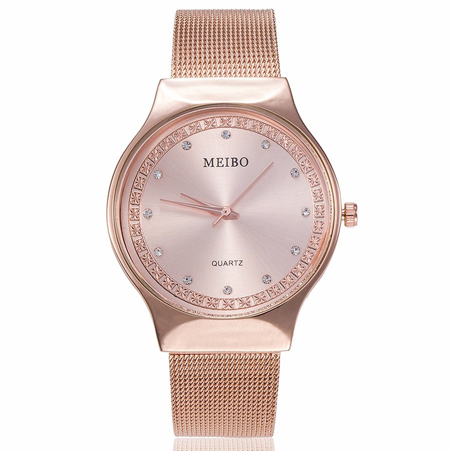 Fashion Women Rose Gold Rhinestone Quartz Watches MEIBO Brand Casual Ladies Stainless Steel Mesh Watches Relogio Feminino