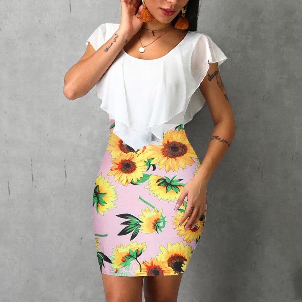 HTB1UXtcVYPpK1RjSZFFq6y5PpXaD Sexy Womens Sunflower Summer Bodycon Dress Sleeveless Printed Holiday Party Short Mini Dresses Ruffle Summer Dress 2019 Vestido