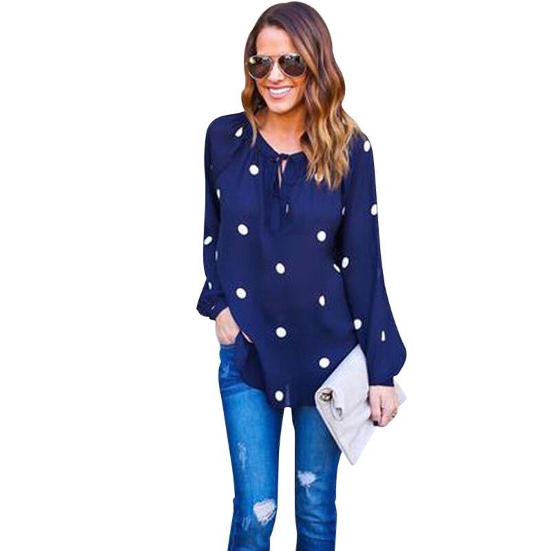 756d98c4b99 Женская летняя модная шифоновая блузка женская с длинным рукавом в горошек шифоновая  блузка женская с круглым