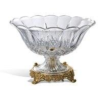 Роскошный стеклянный компот в европейском стиле, креативная миска для фруктов, украшение для гостиной, стеклянная инкрустированная медная