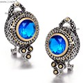 2017 Winter New vintage Classic Jewelry Round Shape Blue Crystal stone 925 Sterling Silver Earrings E0417