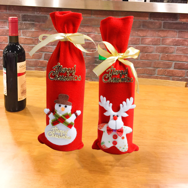 Merry Christmas Wine Bottle Bag Covers String Tie Neck Deer Decor