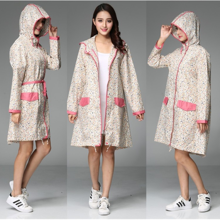 Sexy Lady Floral knee-length Long Raincoat Woman hubasqueros Mujer Dress Rain Coat Water ...