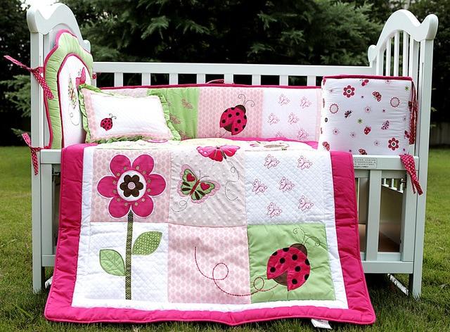 Crib bedding set 4 item cot bedding set embroidery pink red crib bedding set 4 item cot bedding set embroidery pink red butterfly flower baby bedding set mightylinksfo