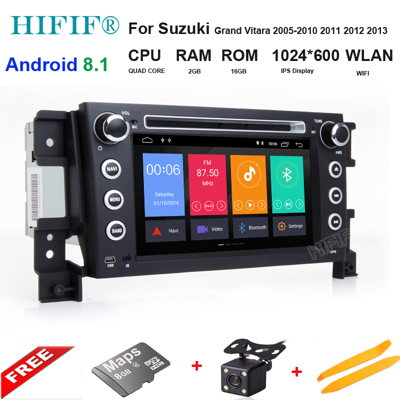IPS Android 8.1 Quad Core CPU 2 GB RAM 16 GB Flash voiture DVD pour SUZUKI GRAND VITARA 2005-2015 Radio GPS Navigation stéréo 4G SIM LT