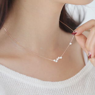 925 Sterling Silver, Crystal Stars Necklace