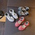 Красивые Девушки Обувь со Стразами Стад Diamond Princess Девушки Квартиры Marry Jane Детей Свадьба Обуви в Черный Красный Черный Сандалии