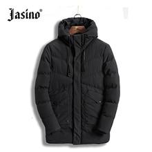 JASINO Brand Men warm long winter down jackets men black hooded basic wind breaker jackets coats winter parkas outerwear for men