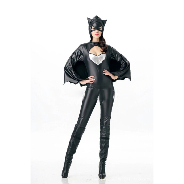 Batman And Catwoman Halloween Costumes.Us 28 99 High Quality New Halloween Costumes Women S Black Leather Onesies Super Heroes Play Spider Batman Sexy Stage Party Costumes In Movie Tv