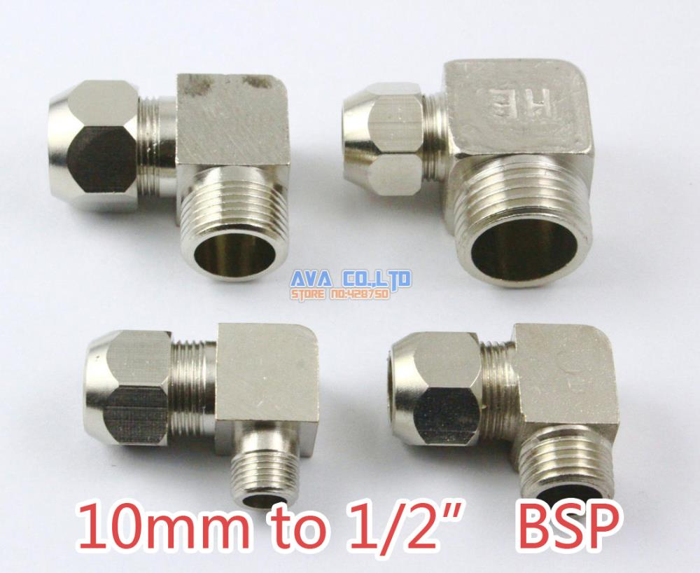 2 Pieces Brass 10mm to 1/2 BSP Elbow Compression Connector Fitting Fuel Air Gas Water Hose Connector Coupler brass drain petcock shut off valve 1 4 bsp male to 1 4 bsp male threaded for fuel gas oil air