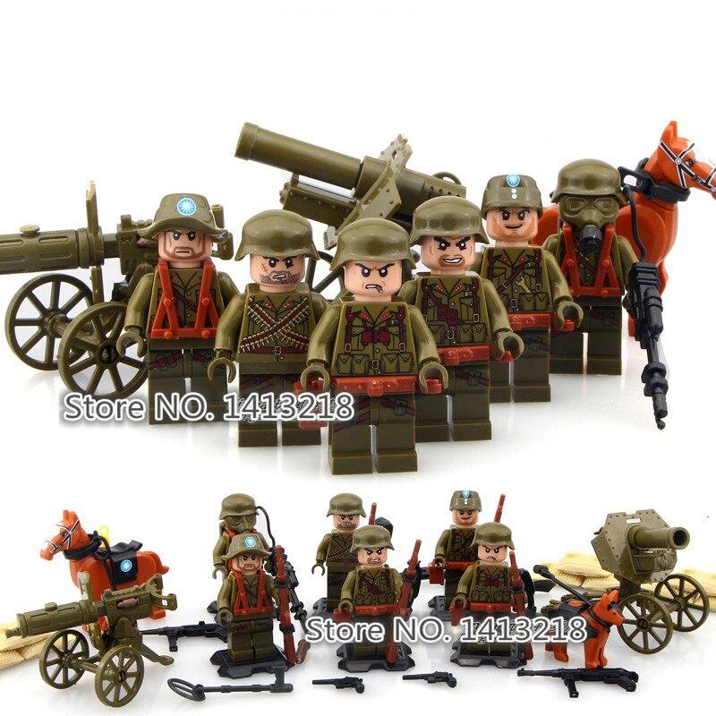 6pcs World War 2 Military SWAT Soldier Gun Weapon German Army Corps Battle  Building Blocks Boy Gift Toy