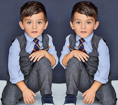 4 Pcs Baby Kids Boys Clothes Formal Suits Set Gentleman Shirt +Waistcoat+ Pants+ tie Sets Suit