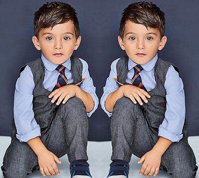4 Pcs infantis bebés meninos roupas ternos formais Set cavalheiro camisa +  colete + calça + gravata conjuntos terno em Conjuntos de roupas de Mãe    Kids no ... 10323993a85