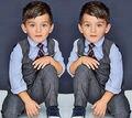 4 unids del bebé infantil chicos ropa trajes formales establecidos caballero camisa + chaleco + Pants + tie conjuntos traje