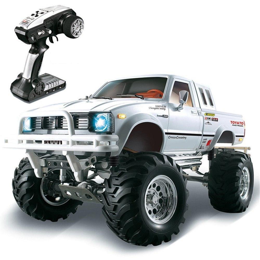 HG P407 1/10 2.4G 4WD 3CH Escovado Rc Rali Carro TOYATO Metal 4X4 Pickup Truck Rock Crawler RTR Brinquedo Black White Presentes Meninos Crianças