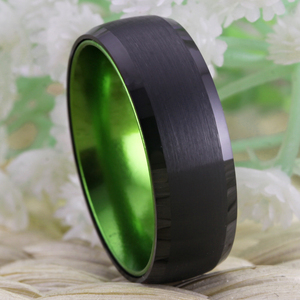 Image 5 - Classic Rings For Women Mens Bridal Jewelry Wedding Engagement Rings Tungsten Ring Black Tungsten with Green Aluminum Ring