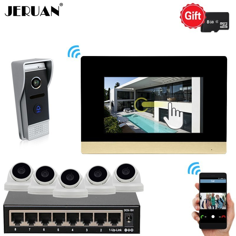 JERUAN 720P AHD HD IP WIFI 7 Inch Touch Screen Video Door Phone Intercom System Kit Record Monitor Camera With 1080P IP Cameras jeruan ip wifi 7 inch touch screen video doorbell intercom system kit 720p ahd record monitor ir coms camera support android ios