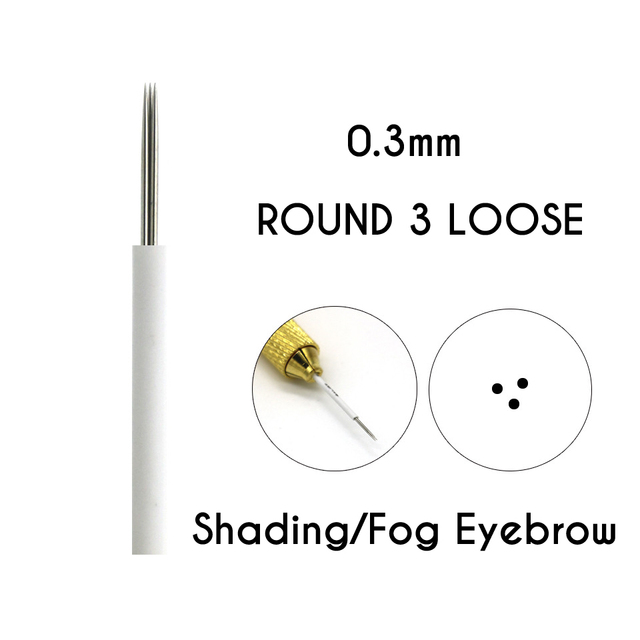 Microblading Shading Round  Needles 3/5/7/9/17/19/21 Needles Permanent Makeup Eyebrow Tattoo Needles Brows Embroidery Pins 3