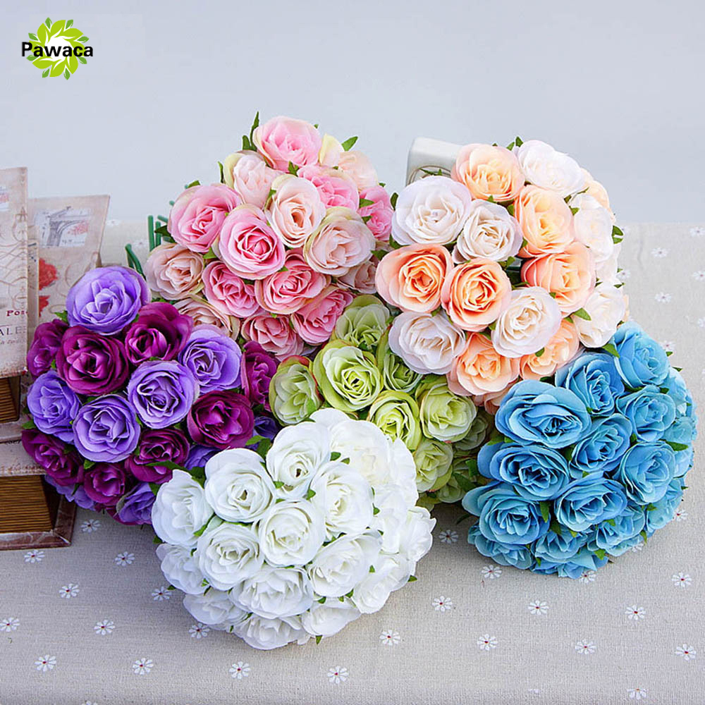 20pcs Artificial Decor Flowers Cheap Hand Holding DIY Artificial Rose Bud Heads Fake Roses artificial flowers for Wedding Decor