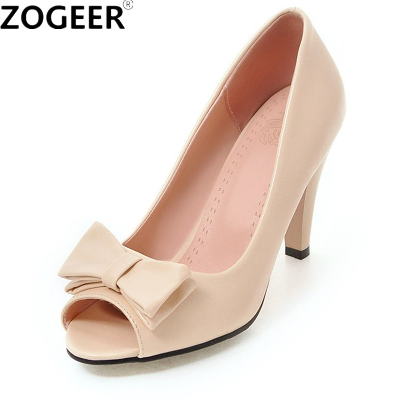 Quality Size 34-43 2018 Spring Women Pumps Peep Toe Black White Luxury Rhinestone Thick High Heels Casual Wedding Working Shoes asumer large size 32 43 women pumps peep toe comfortable new arrive high quality rhinestone round toe thick heels summer shoes