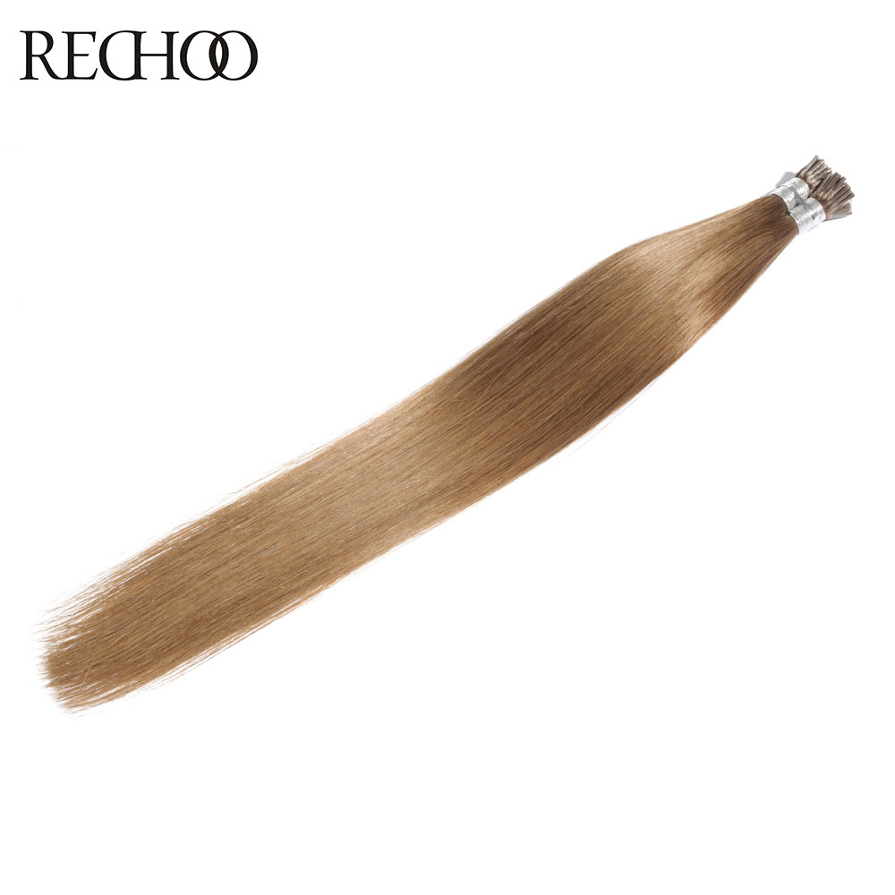 Rechoo 8 Color Non Remy Human Stick Hair Straight I tip Hair Extensions Peruvian Hair Extensions