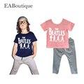 EABoutique Новая мода одежда Nake Розовый Beatles печатных девушки спортивная одежда набор дышащий девушки костюм для 2-6Y