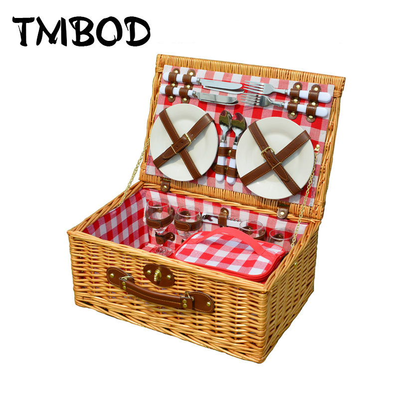 NEW 2019 Classic Retro Travel Basket Bag without Tableware Women Rattan Knitting Handbags Lady Lunch Picnic
