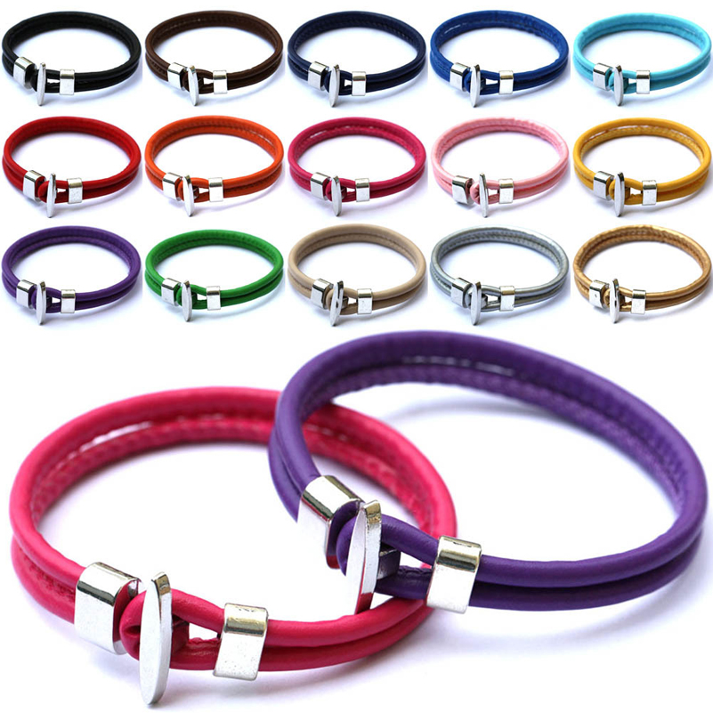 simple design jewelry zinc alloy easy hook with multi colors colorful red pink black beige PU leather unisex Bracelet bangle