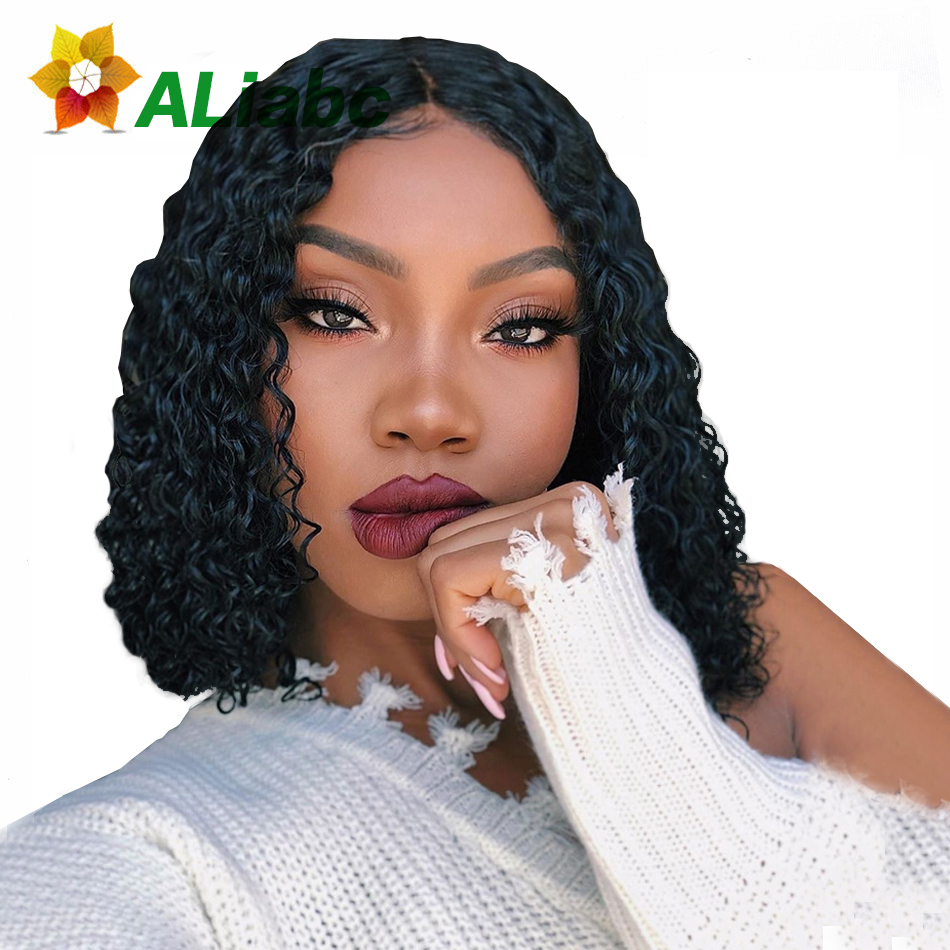 Aliabc 13*4 Bob Wigs Brazilian Lace Front Human Hair Wigs For Black Women Natural Color Remy Kinky Curly Short Lace Front Wigs(China)