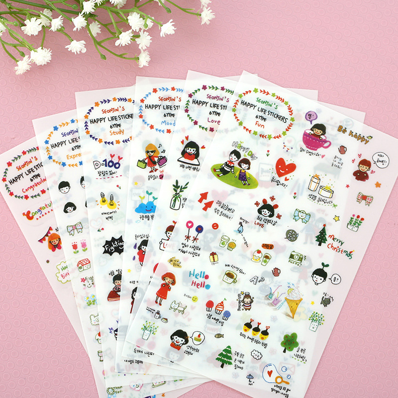 6 Pcs/Set Crayon Factory Direct Wholesale Korean Stationery Cute Girl Diary Pet Stickers Decorative Stickers crayon