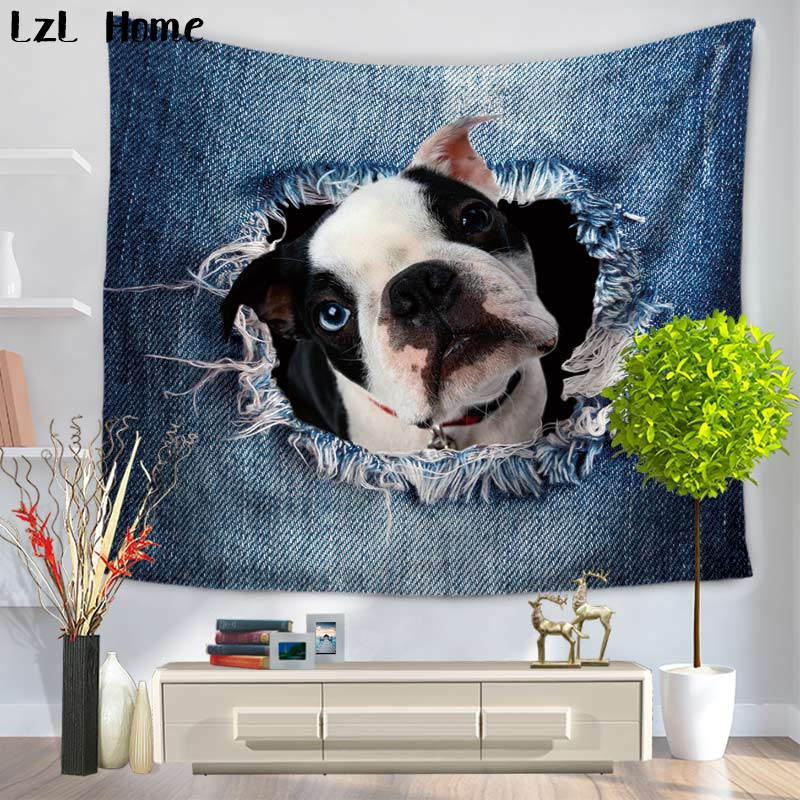 LzL Home Creative Design! Ripped Jeans With Dog Cat Tapestry Mandala Animales Indian Wall Hanging Home Decor Dorm Cover Tapestry